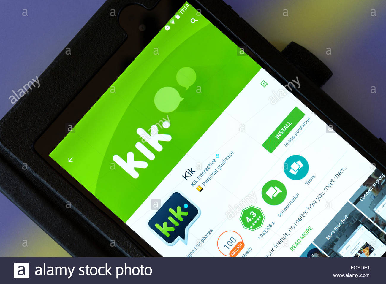Instant messenger app kik on an android tablet PC, Dorset, England
