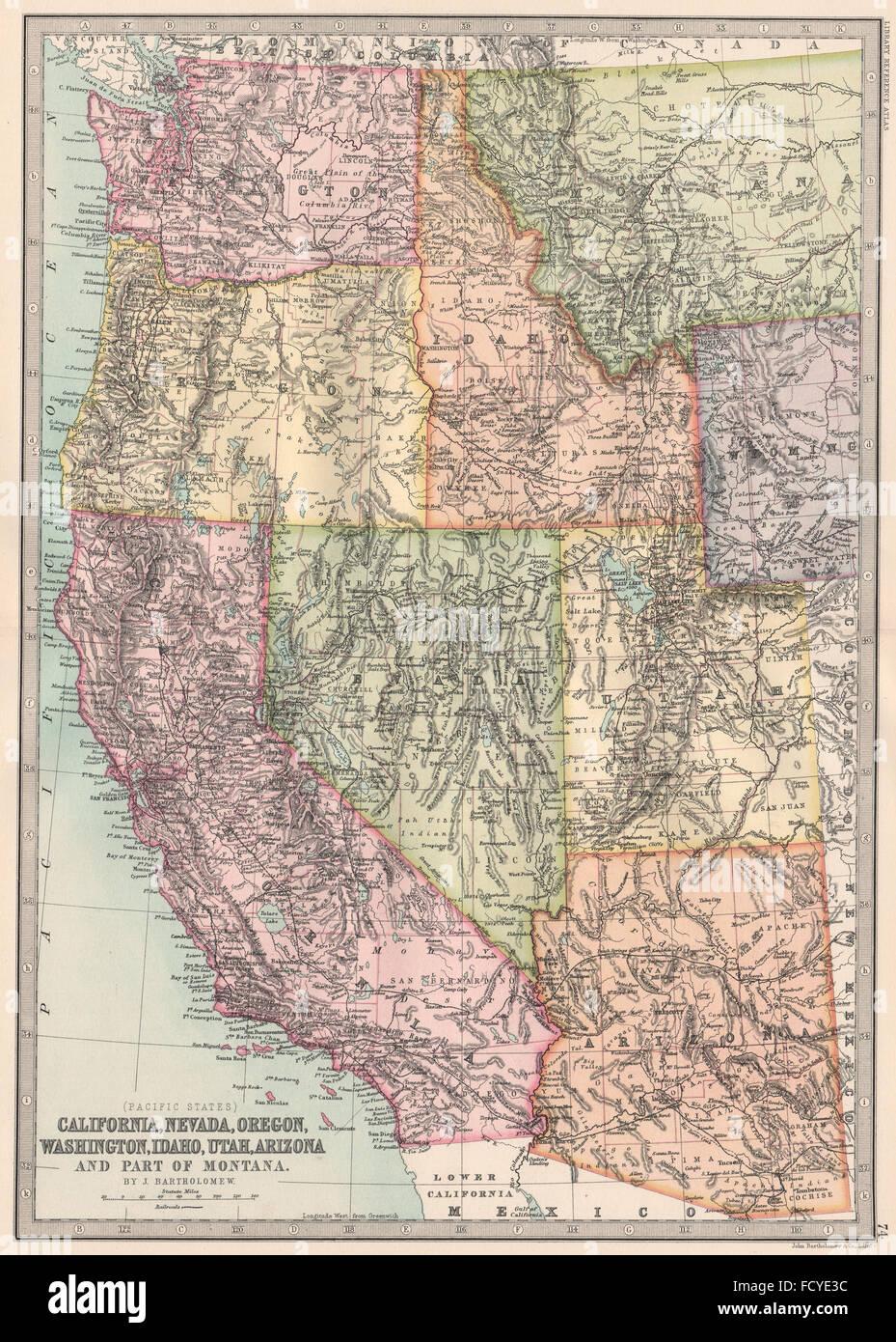 USA PACIFIC STATES:California Nevada Oregon Washington Idaho UT ...