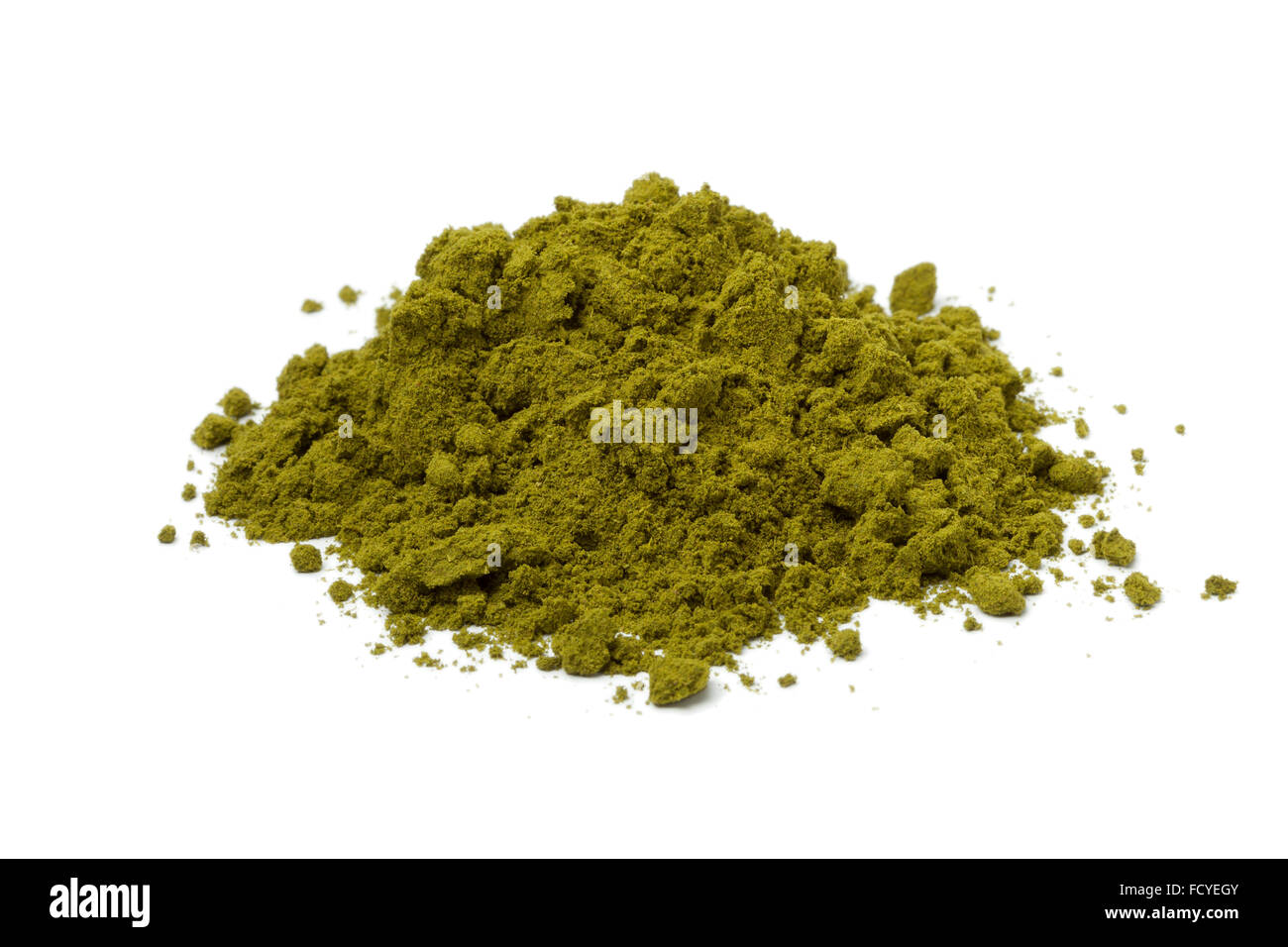 Heap of traditional henna powder on white background - Stock Image