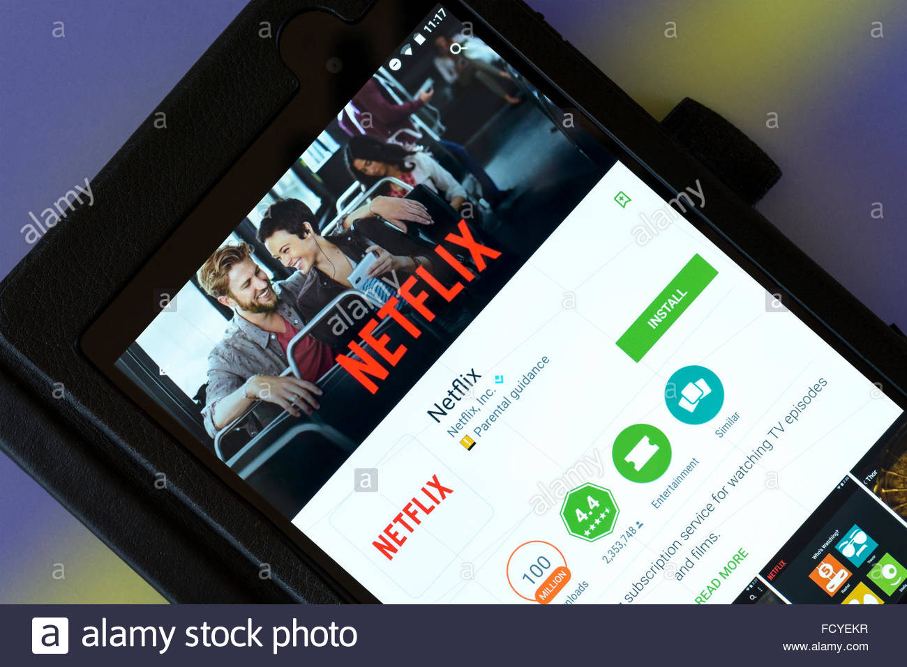 Netflix on demand streaming service, app on an android tablet PC