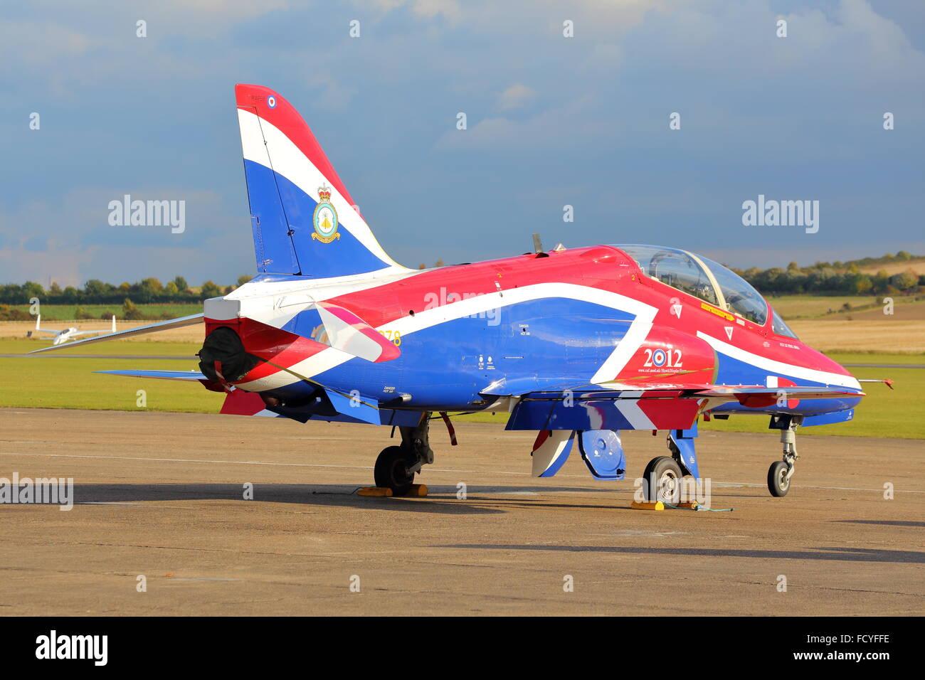 RAF British Aerospace Hawk T.1 XX278 performing at the Duxford Air Show 2012 - Stock Image
