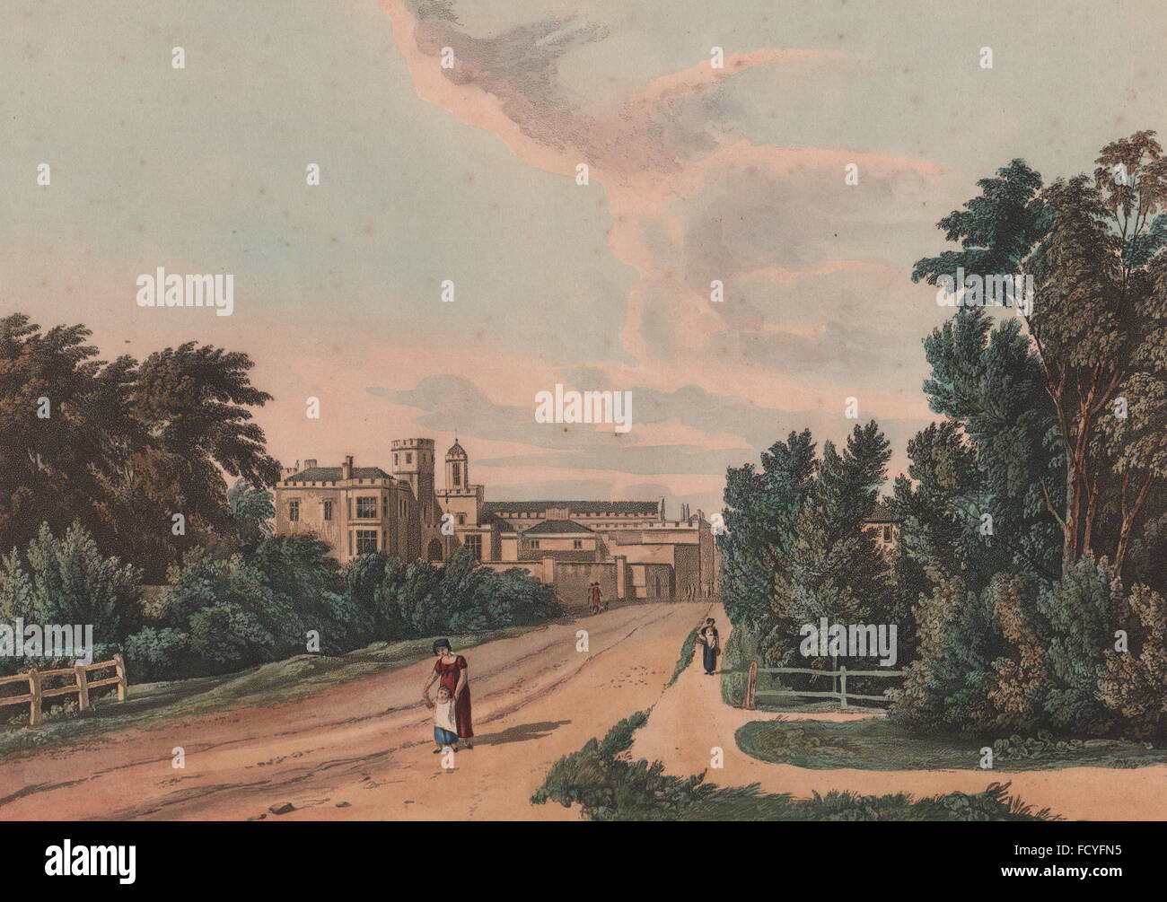 RUGBY SCHOOL: View of the school from the Northampton road (Hillmorton Rd) 1816 Stock Photo