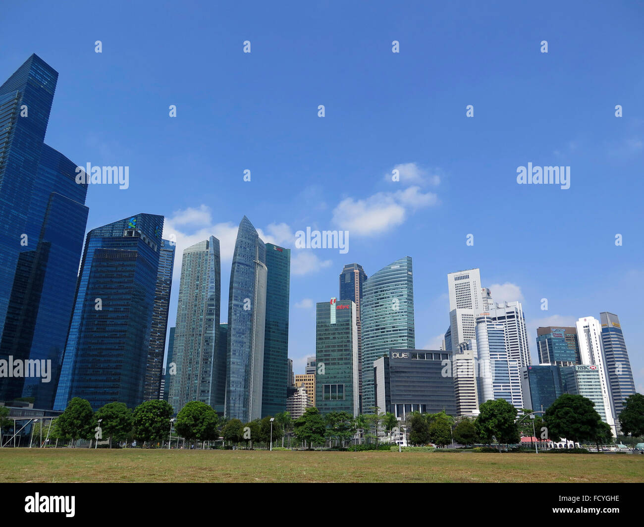 Panorama of Singapore City at Boat Quay, Financial District , Singapore, Asia Stock Photo