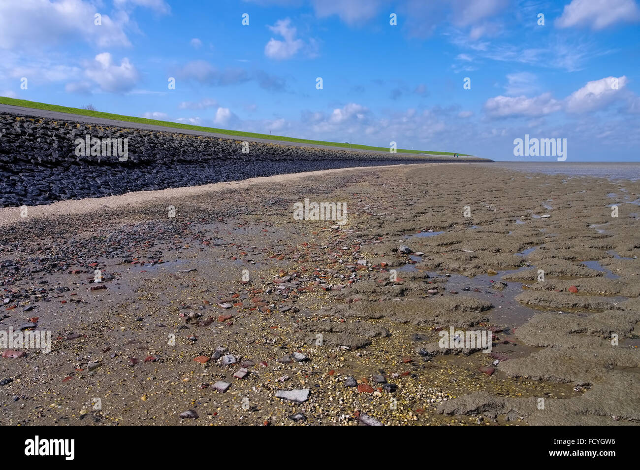 Wattenmeer in Ostfriesland - Mudflat in East Frisia, North Sea - Stock Image