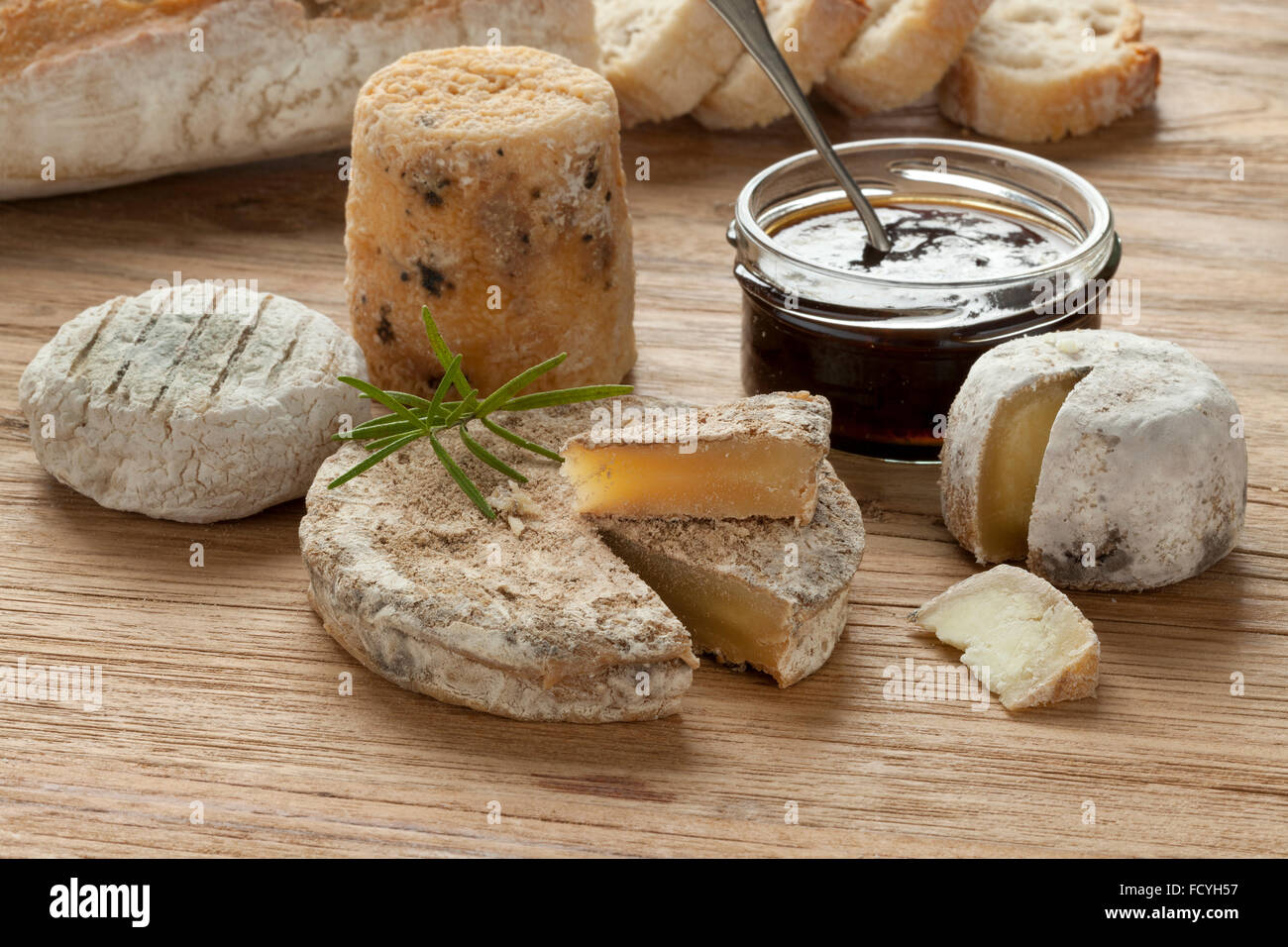 Traditional french goats cheeses called chevre chabichou,chevre pico,chevre d'or - Stock Image