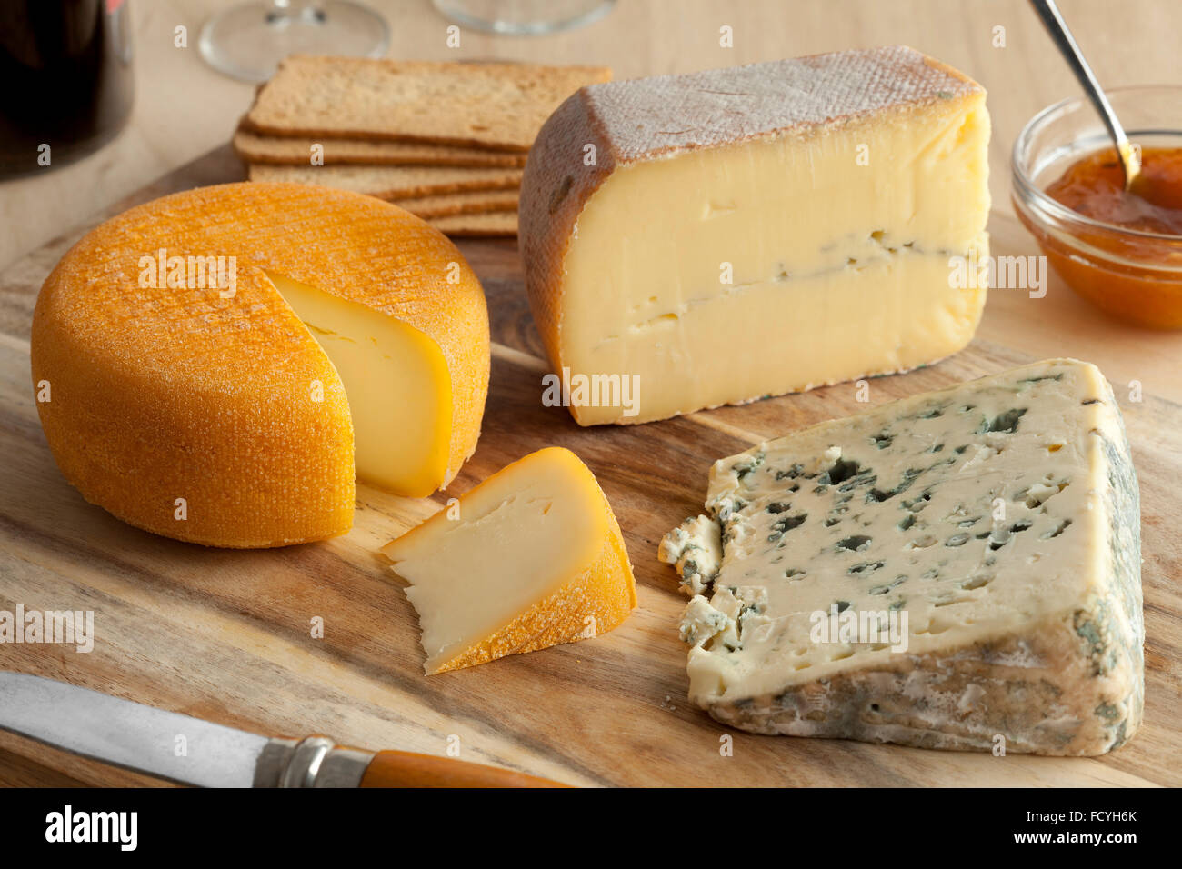 French cheese platter for dessert - Stock Image
