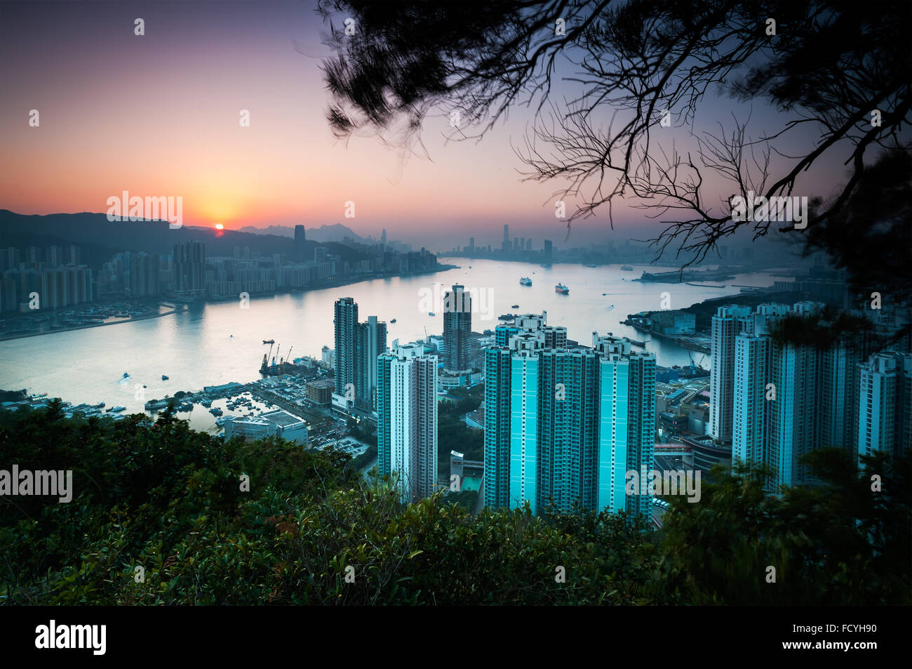 Sunset over Hong Kong Island as seen from Devil's Peak, Kowloon - Stock Image