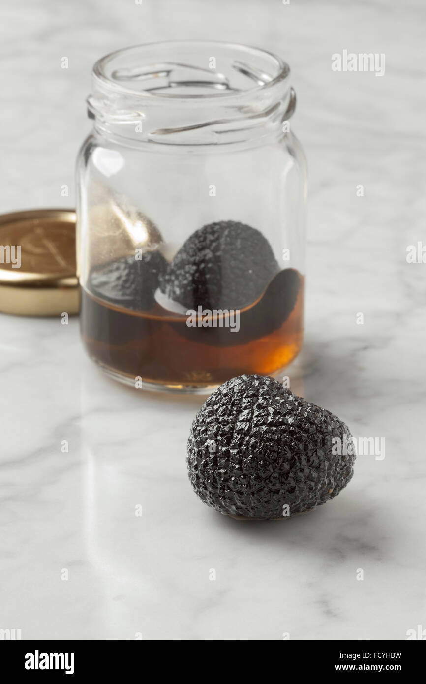 Whole preserved summer truffle from a pot - Stock Image