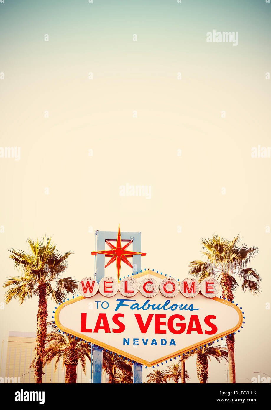 Retro stylized Welcome To Las Vegas Sign with copy space. - Stock Image