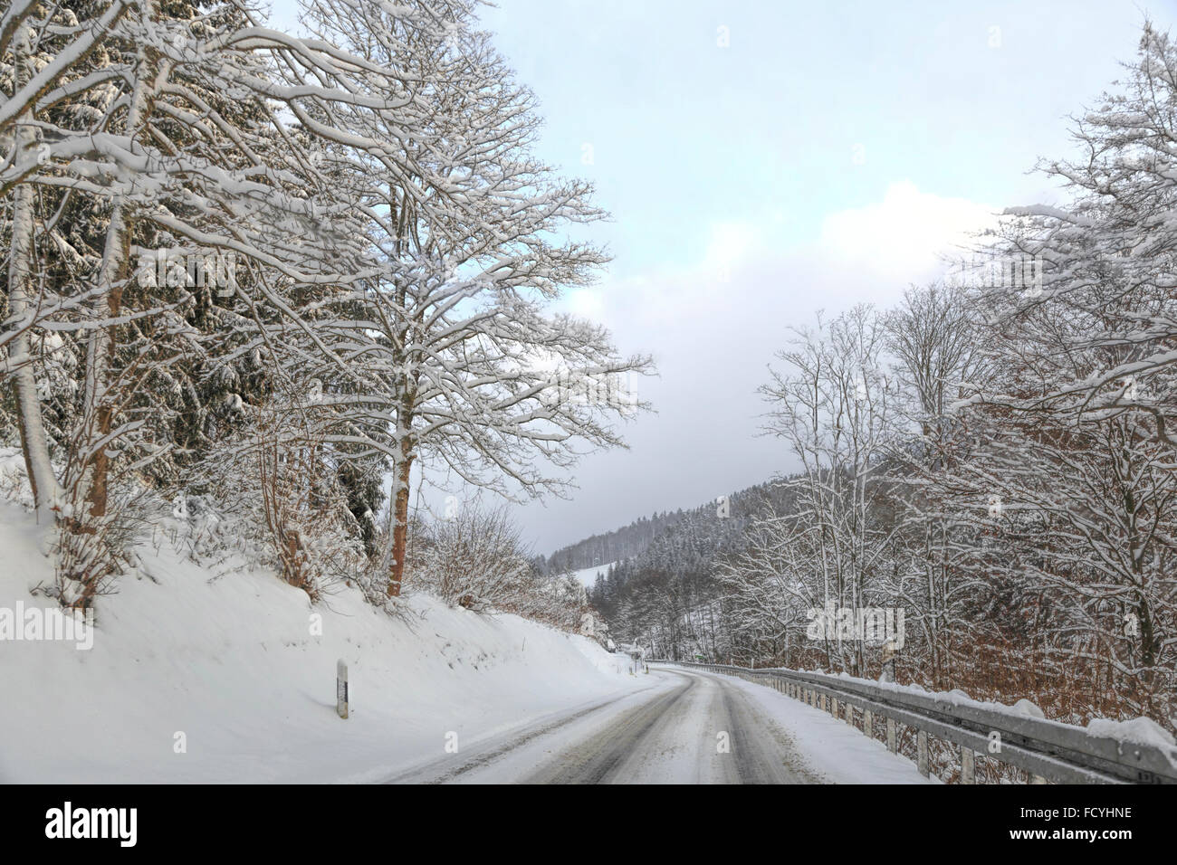 Scenic winter mood with hoarfrost on trees along the road, Westfeld / Schmallenberg, Sauerland, North Rhine-Westphalia,Germany. - Stock Image