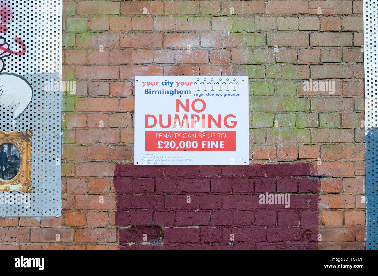 No Dumping sign issued by Birmingham City Council - Stock Image