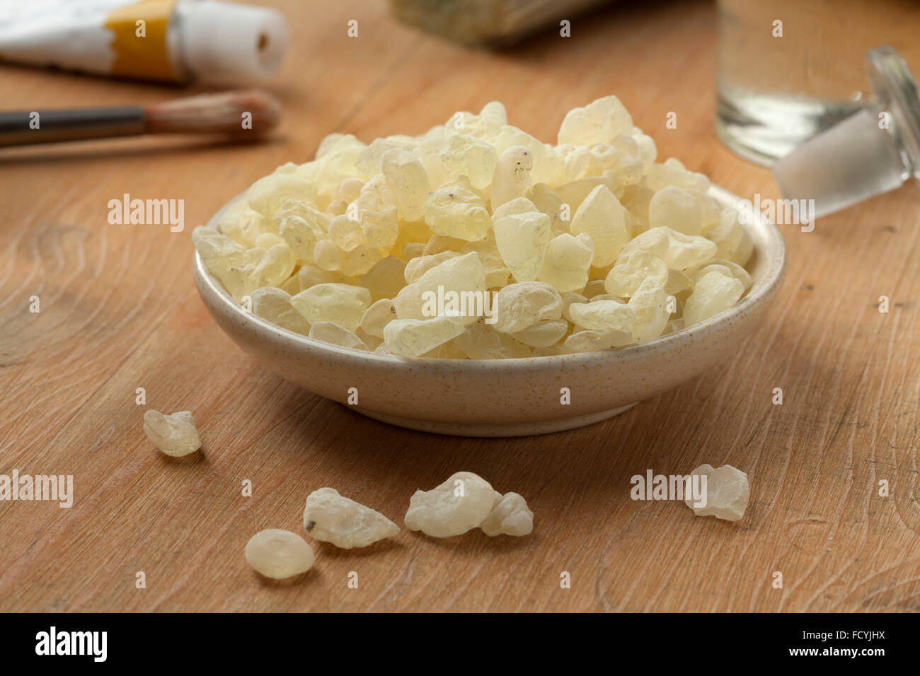 Mastic tears of Chios to use as varnish for paintings - Stock Image