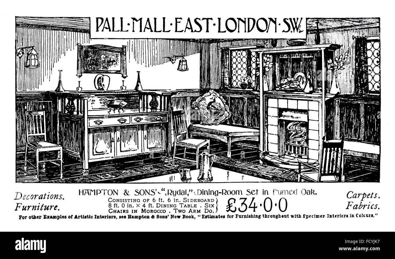 Hampton U0026 Sons Pall Mall, Rydal Dining Room Set, Furniture Advertisement  From 1900 The Studio Magazine