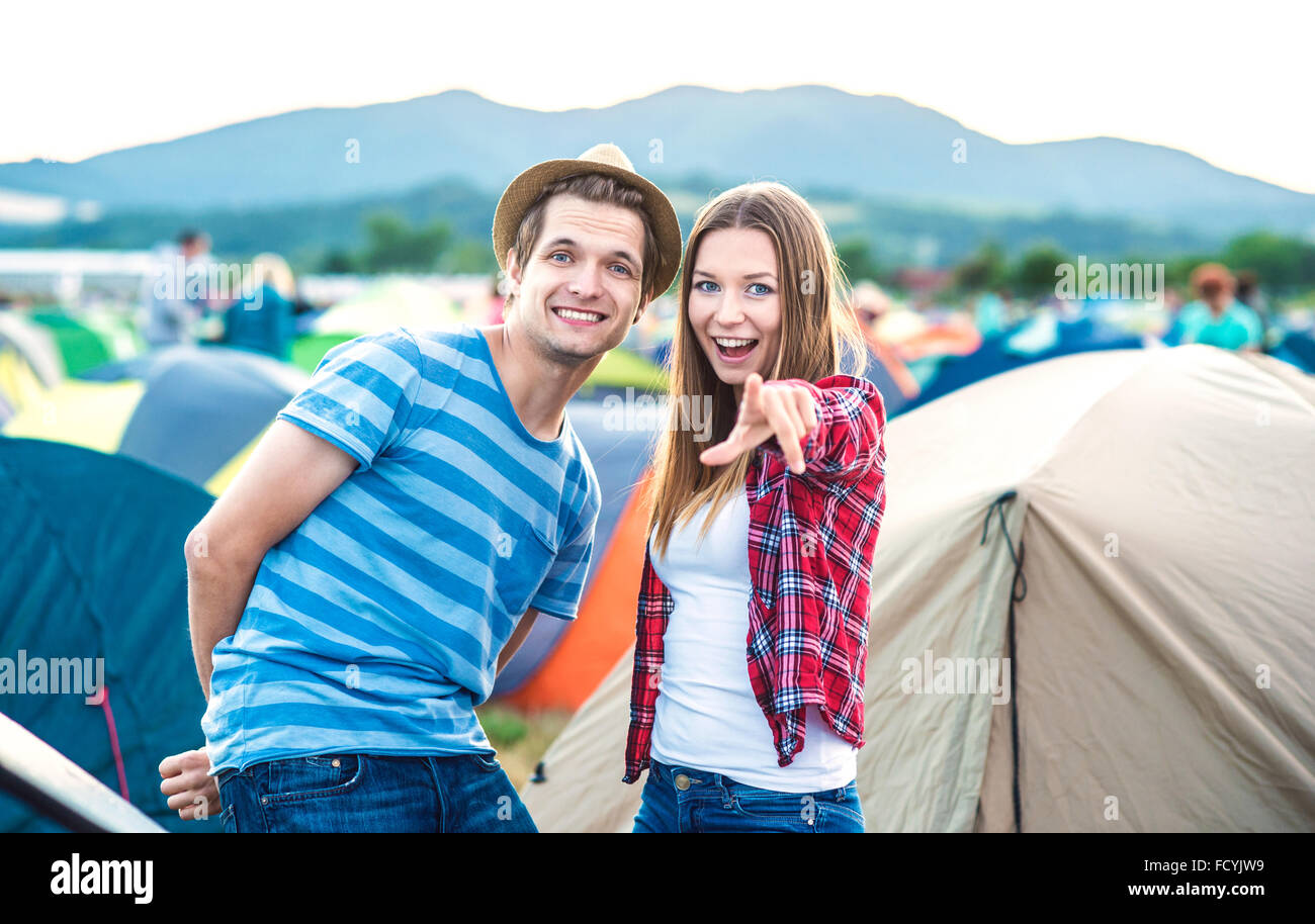 Teens at summer festival - Stock Image