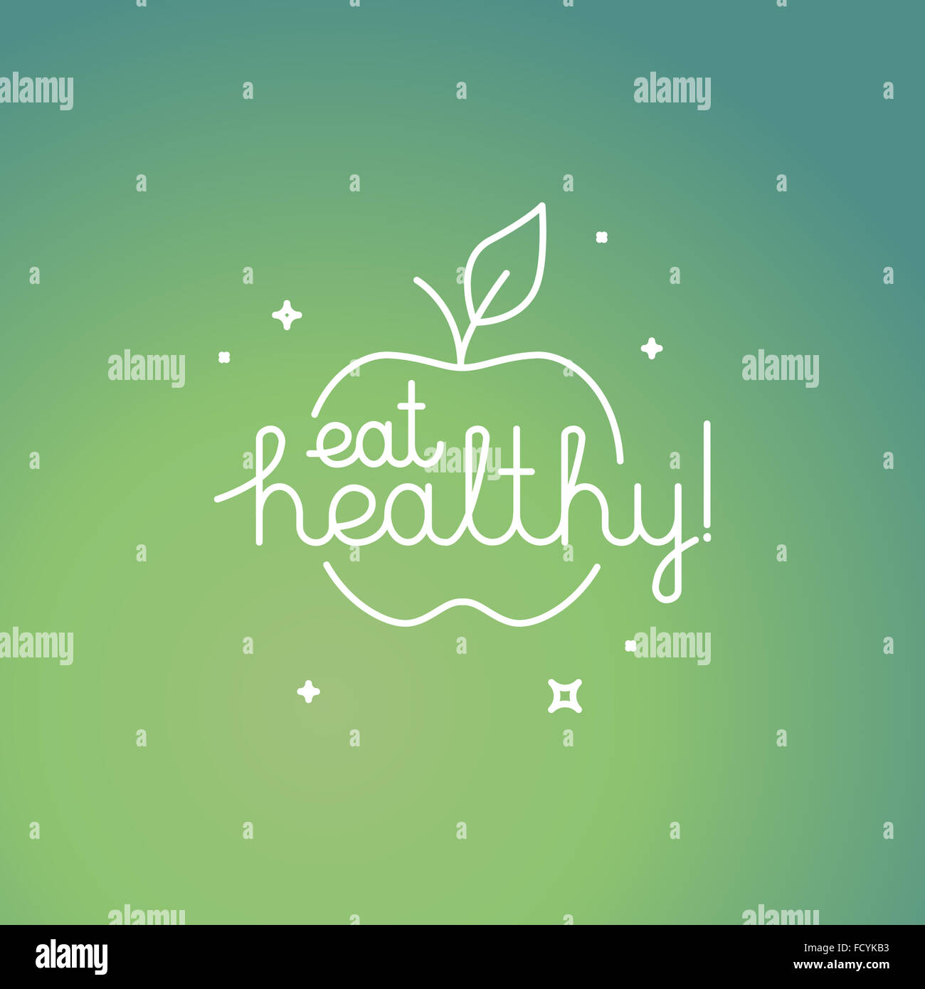 Linear poster in trendy mono line style with hand-lettering quote - eat healthy - organic and fresh food concept - Stock Image