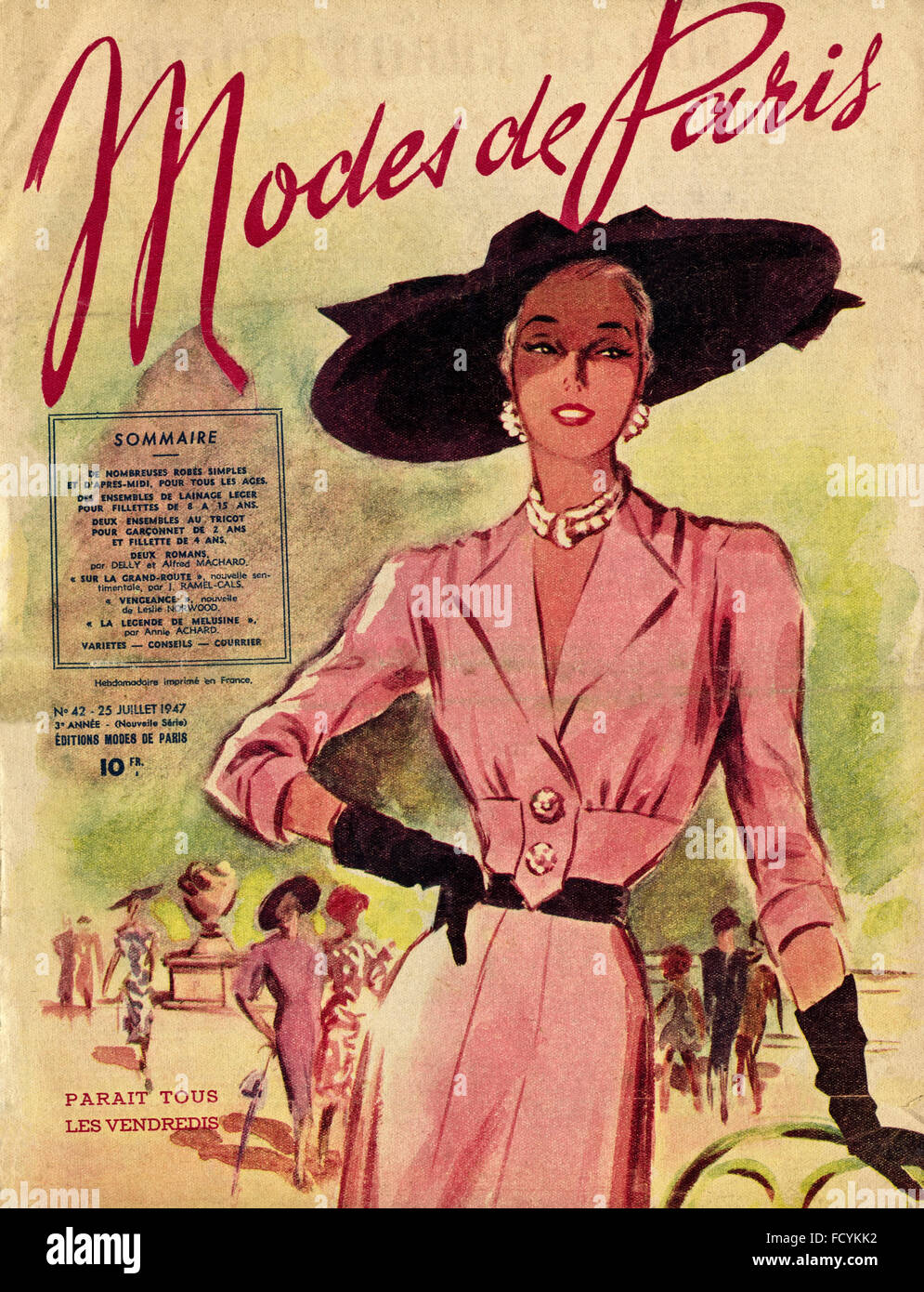 803803fb5 Cover of original vintage French fashion magazine Modes de Paris from 1940s  dated 25th July 1947