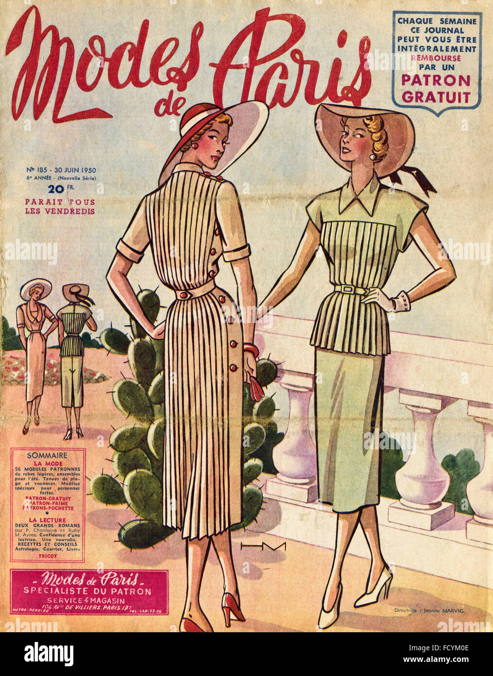 Cover of original vintage French fashion magazine Modes de Paris from 1950s dated 30th June 1950 Stock Photo