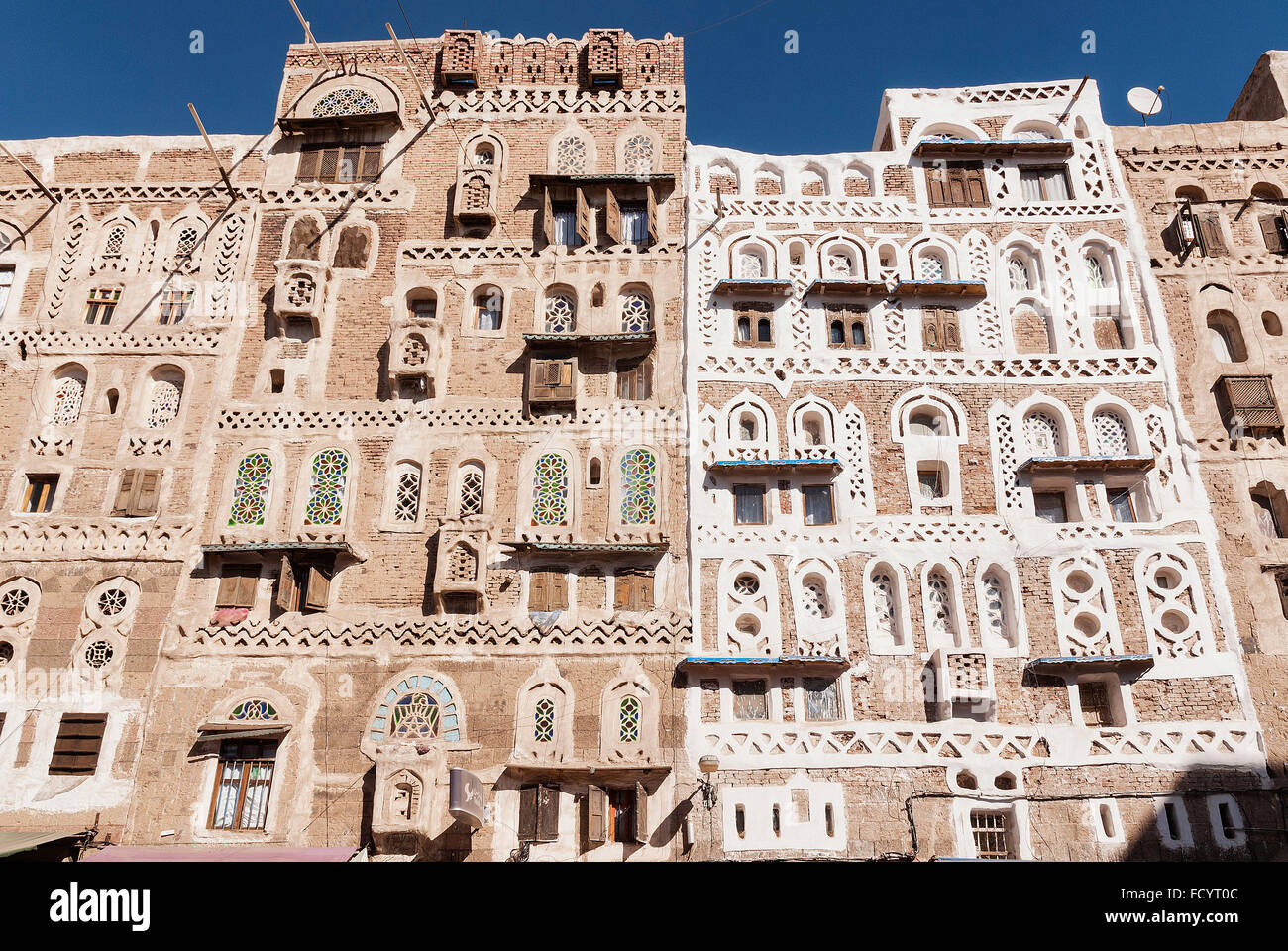 traditional yemeni ancient buildings in sanaa old town yemen - Stock Image
