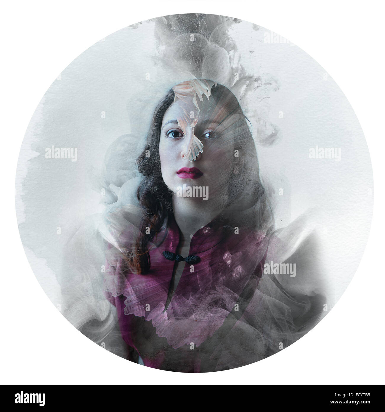 Artistic illustration, vintage circle photo multi exposure manipulation - fantasy dreamy magic princess concept - Stock Image