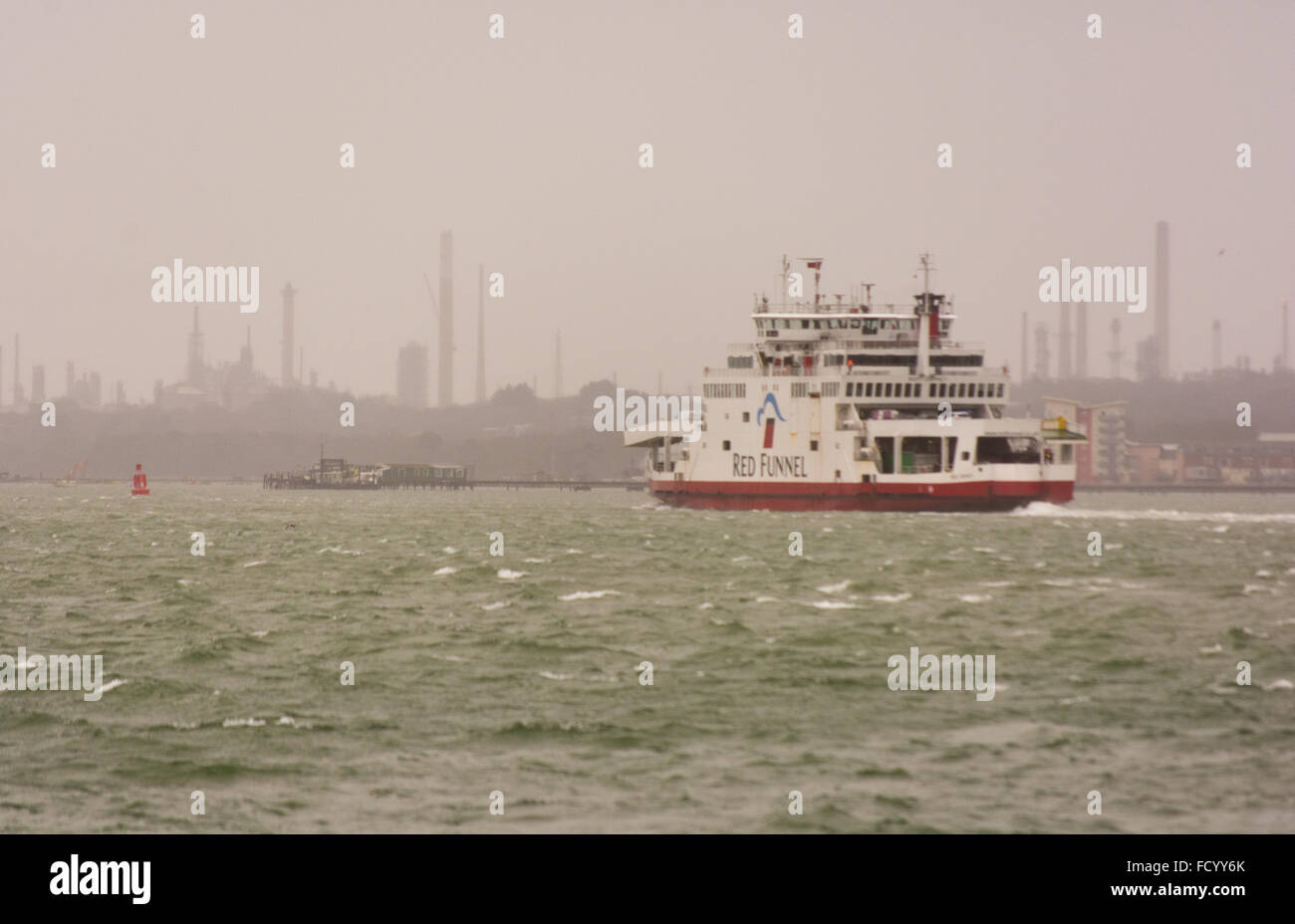 Southampton, Hampshire, UK, January weather. Choppy seas for a Red Funnel Isle of Wight ferry crossing the Solent - Stock Image