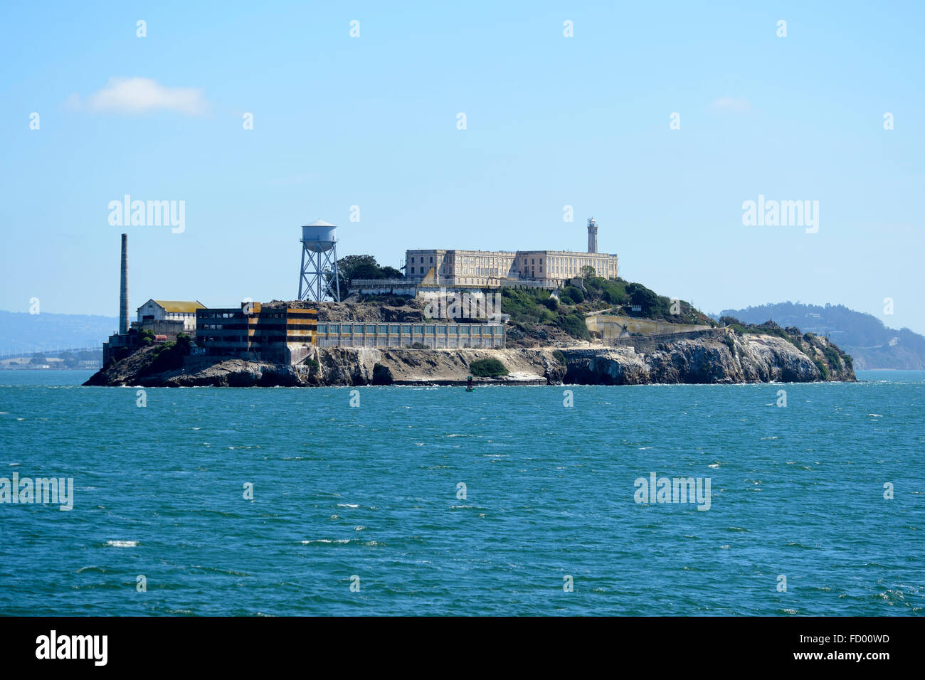 View of Alcatraz Island from Sausalito Ferry, San Francisco, California, USA - Stock Image