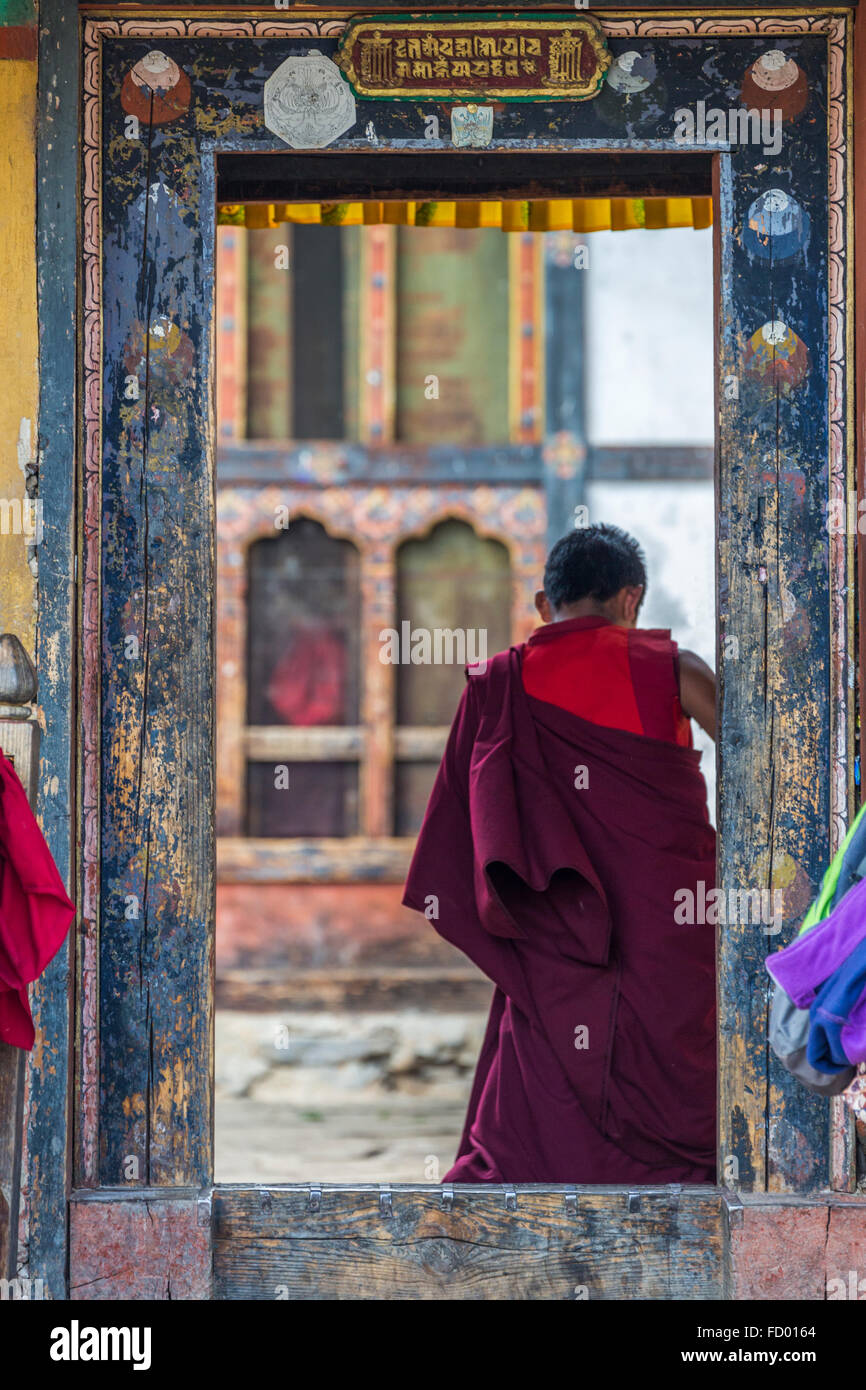 Young Monk at Tamshing Buddhist Temple, Jakar, Bumthang, Central Bhutan, Asia Stock Photo