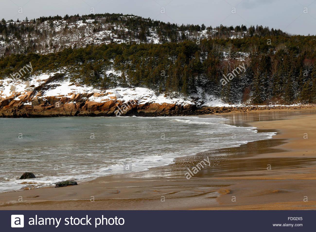 Sand Beach, Acadia National Park, Maine, USA - Stock Image