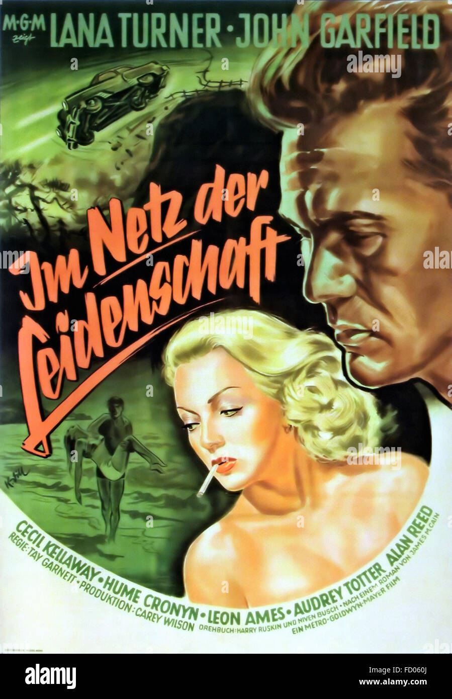 Postman Always Rings Twice, The - German Movie Poster - Stock Image