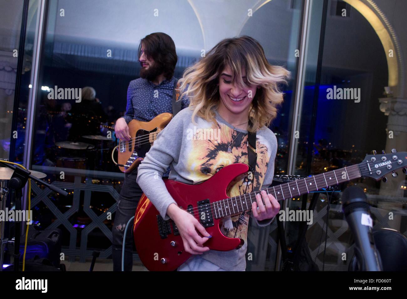Music Band - Band E Roll, Dea Bezhuashvili at Restaurant Funicular, Tbilisi, Georgia - 12.22.2015 - Stock Image