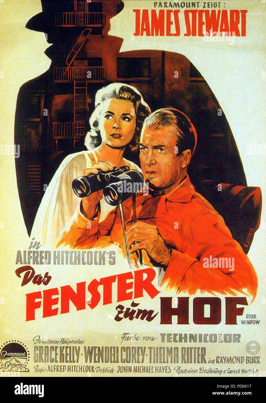 Rear Window - German Movie Poster - Stock Image