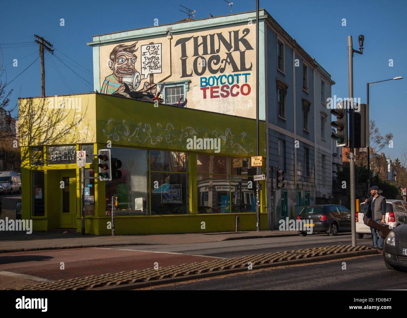 'Boycott Tesco' mural in Stokes Croft, Bristol, England - Stock Image