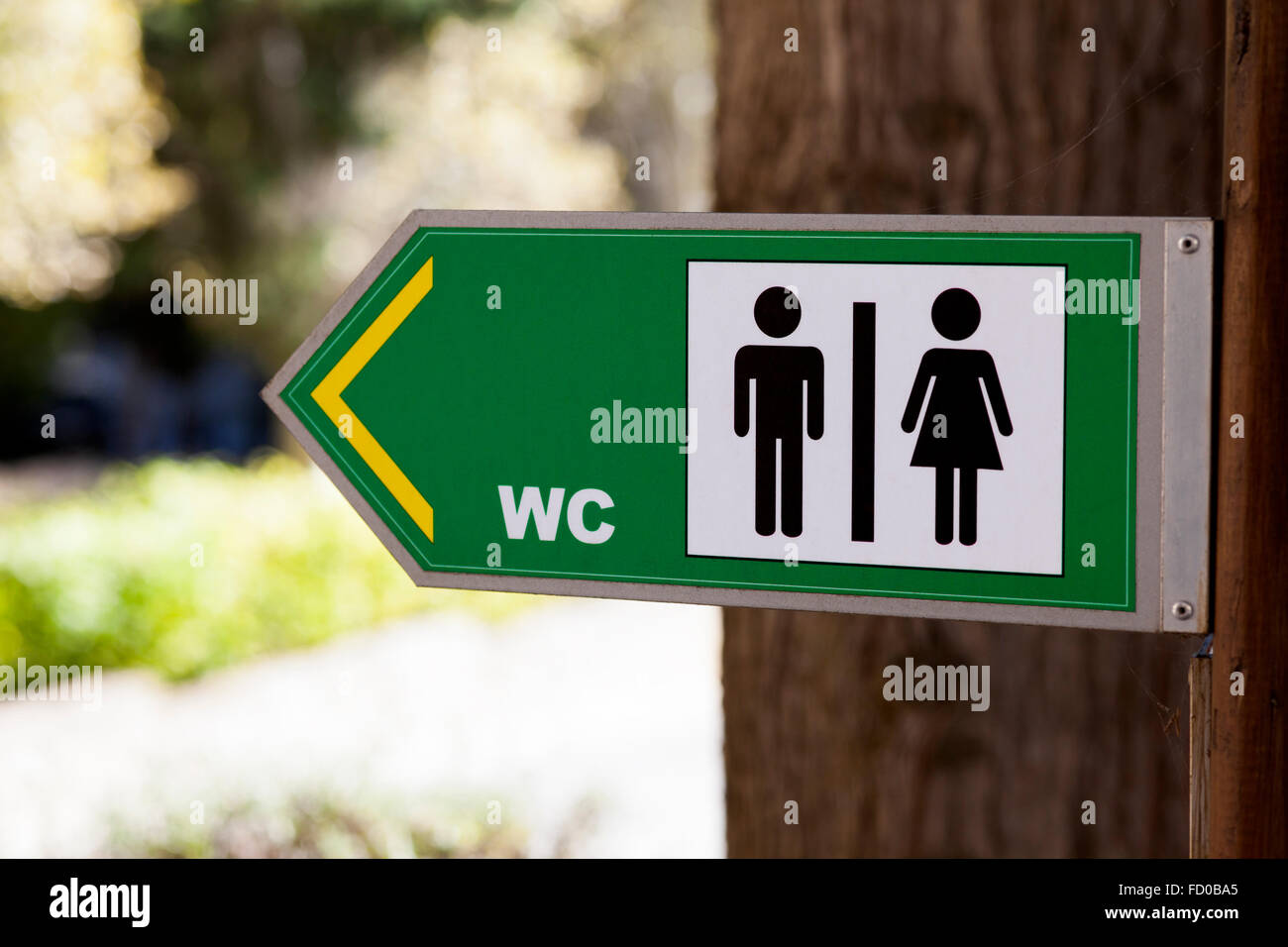 Sign for WC in park - Stock Image