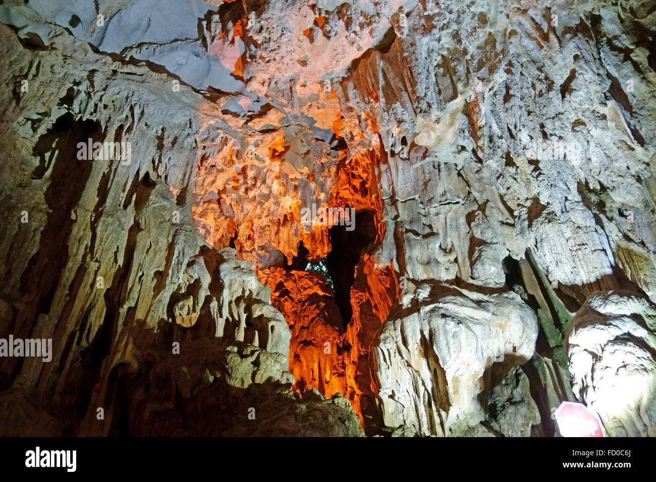 Limestone formations in a large cave, Dau Go Cave, in a limestone Karst in Halong Bay, Vietnam Stock Photo