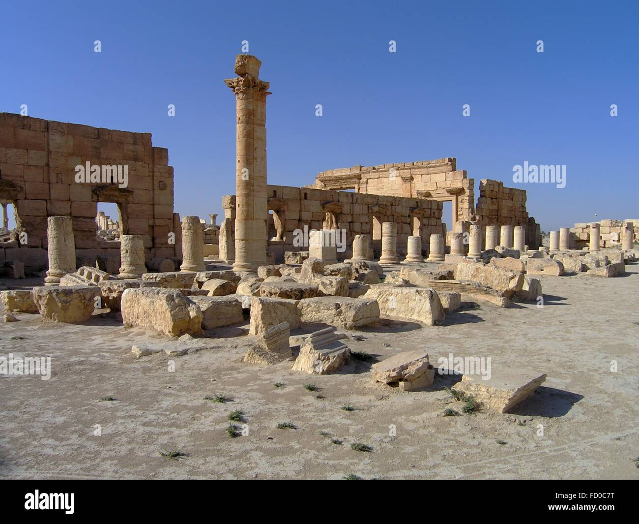The Agora Roman Empire ruins in the ancient Semitic city of Palmyra June 16, 2006 in present-day Tadmur, Homs, Syria. Stock Photo