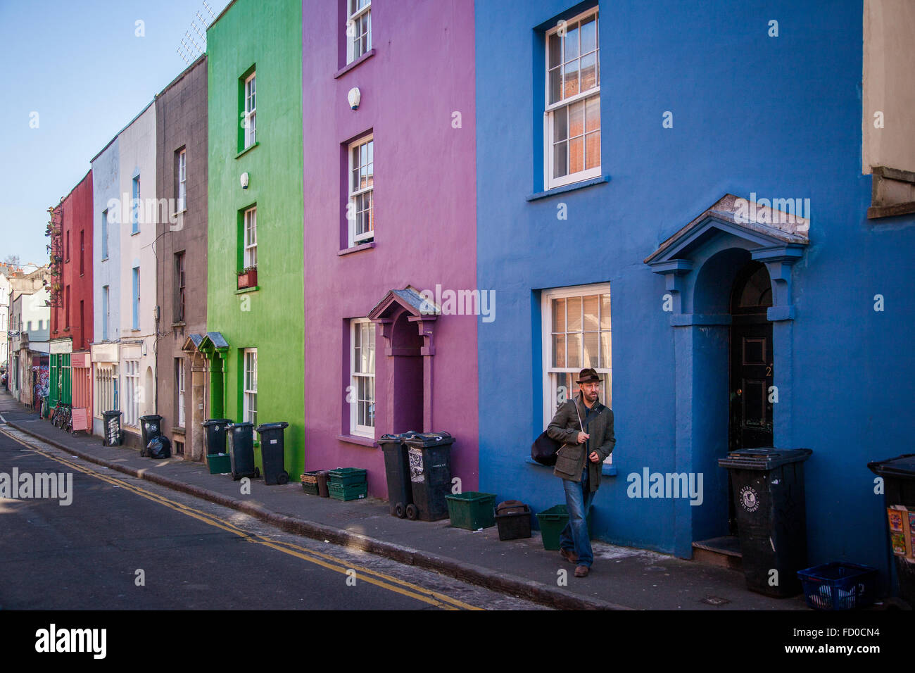 Colourful terraced houses in Stokes Croft, Bristol, England - Stock Image