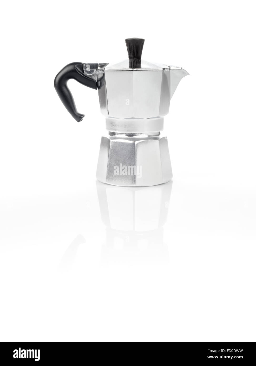 Moka Pot, also known as stove top espresso machine italian coffee maker on white background and reflection - Stock Image