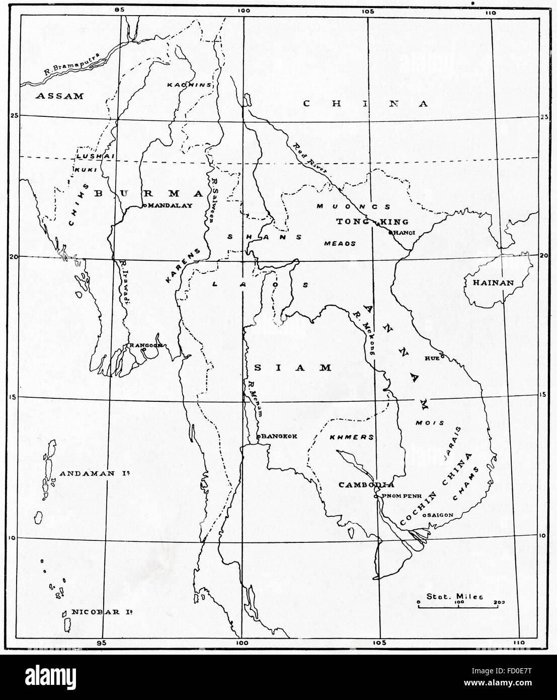 A map of the Indo-Chinese peninsula c. 1900.  Indochina or Mainland Southeast Asia. - Stock Image