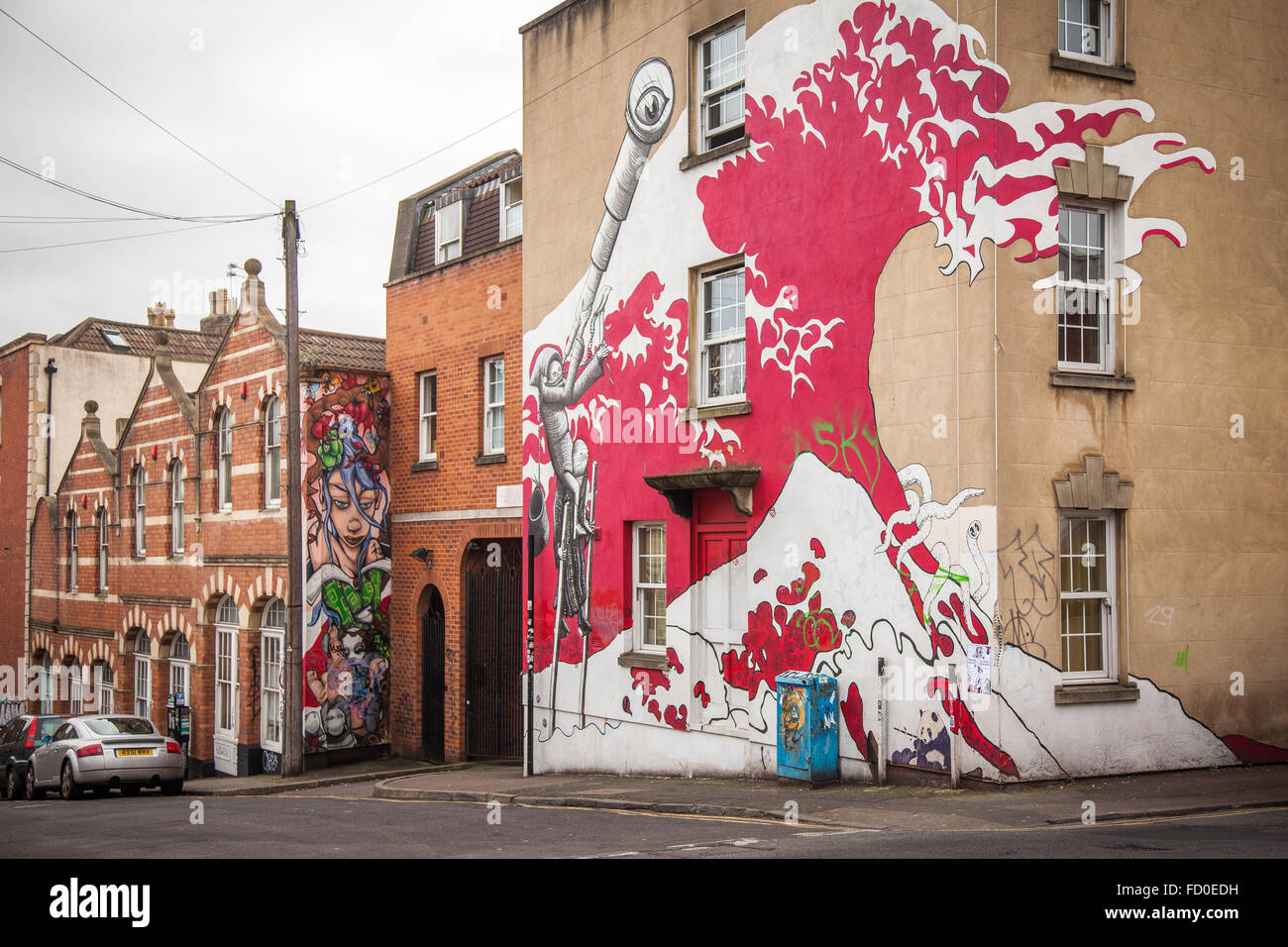 Street art by MM13 in Stokes Croft, Bristol, England - Stock Image