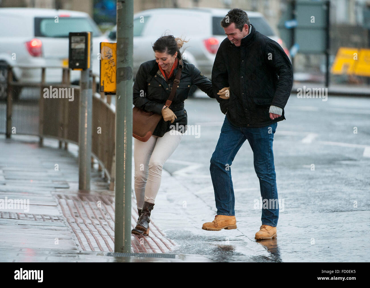 Brighton, Sussex, UK. 26th January, 2016. UK Weather: The storm which has caused snow chaos in America arrives in - Stock Image