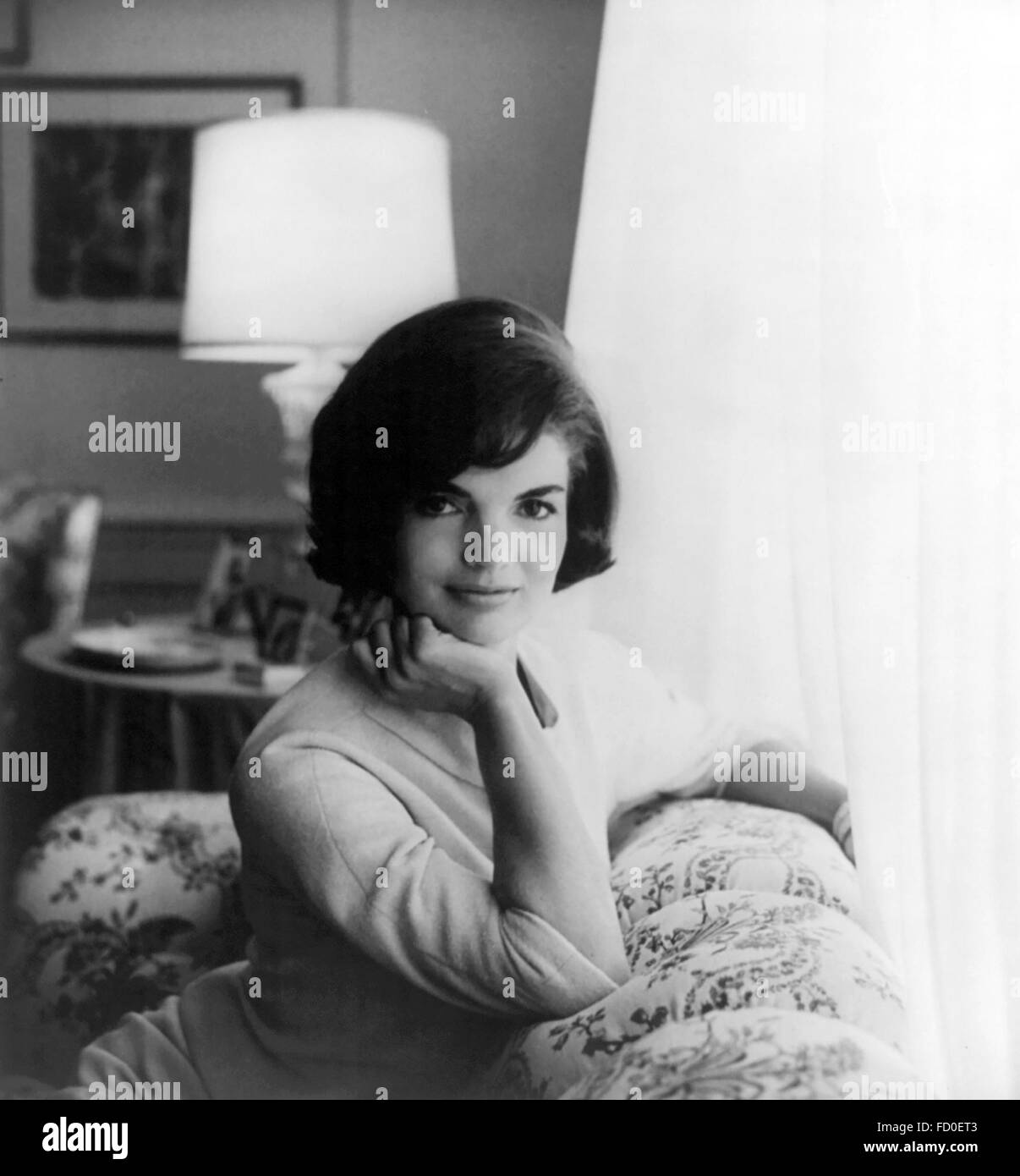 Jackie Kennedy. First official White House photograph of Jacqueline Kennedy, wife of John F Kennedy, the 35th President - Stock Image
