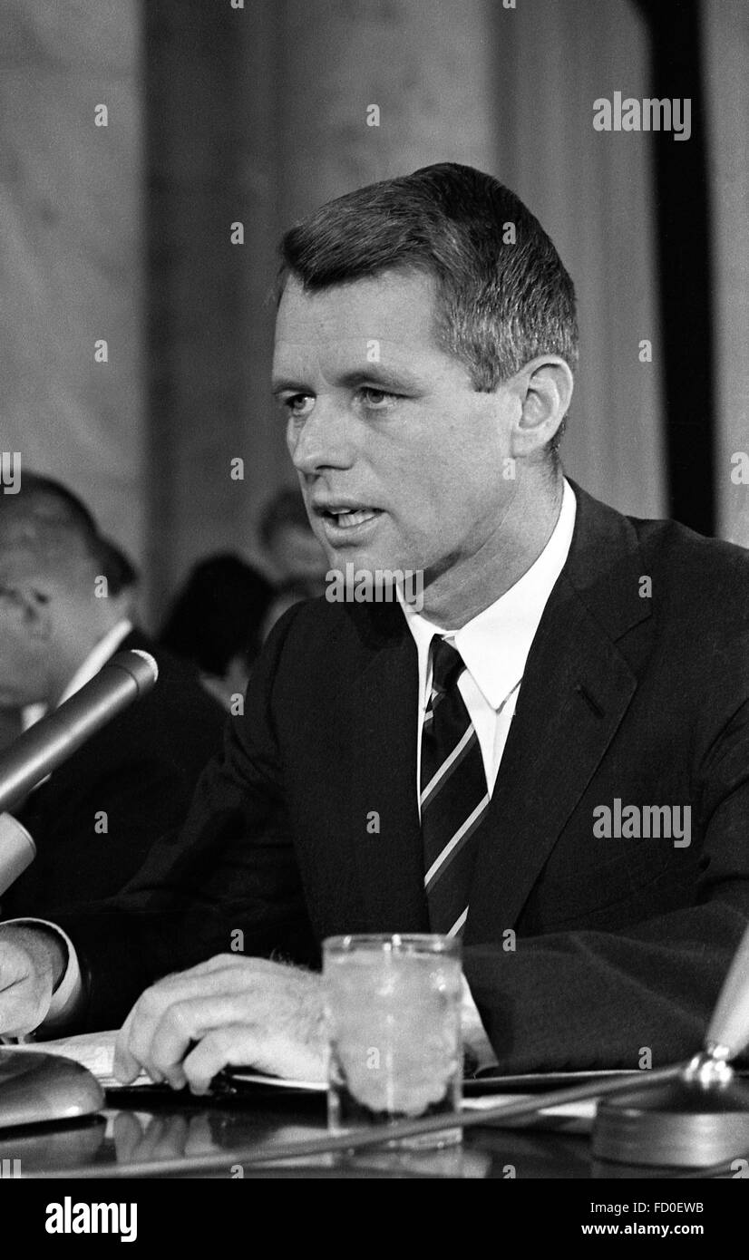 Robert F Kennedy, US Attorney General, ,testifying before a Senate subcommittee hearing on crime, Washington DC, - Stock Image
