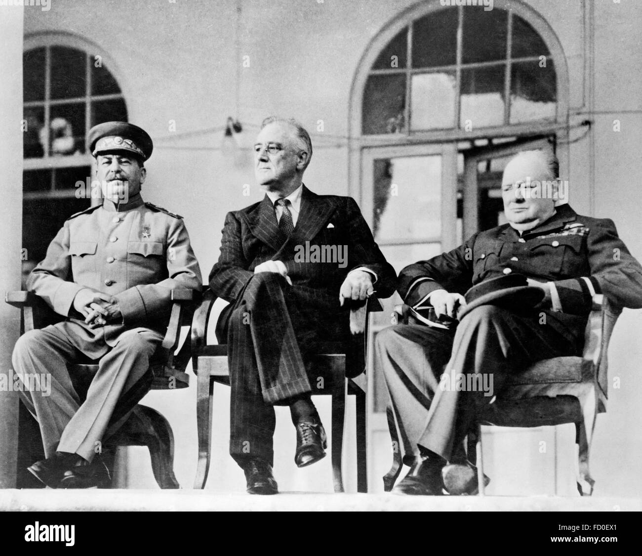 Soviet Premier Josef Stalin, US President Franklin D Roosevelt and British Prime Minister Winston Churchill, meeting - Stock Image