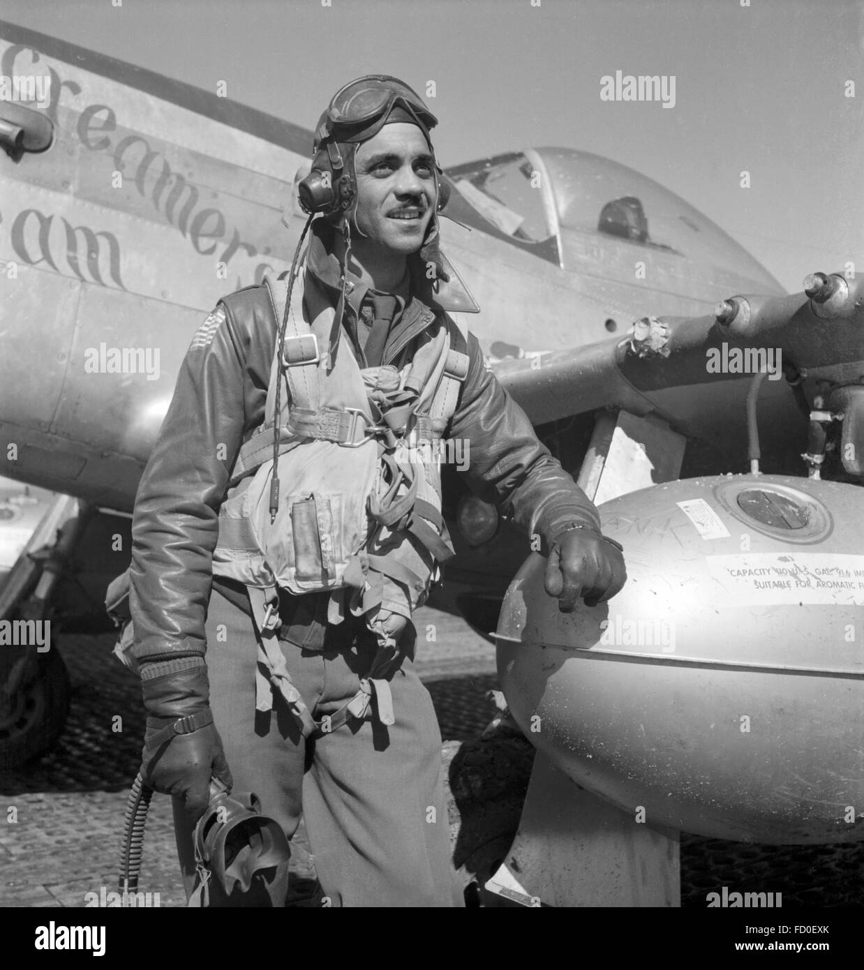 Tuskegee airman Edward C. Gleed, Group Operations Officer, 332nd Fighter Group. The aircraft in the background is - Stock Image