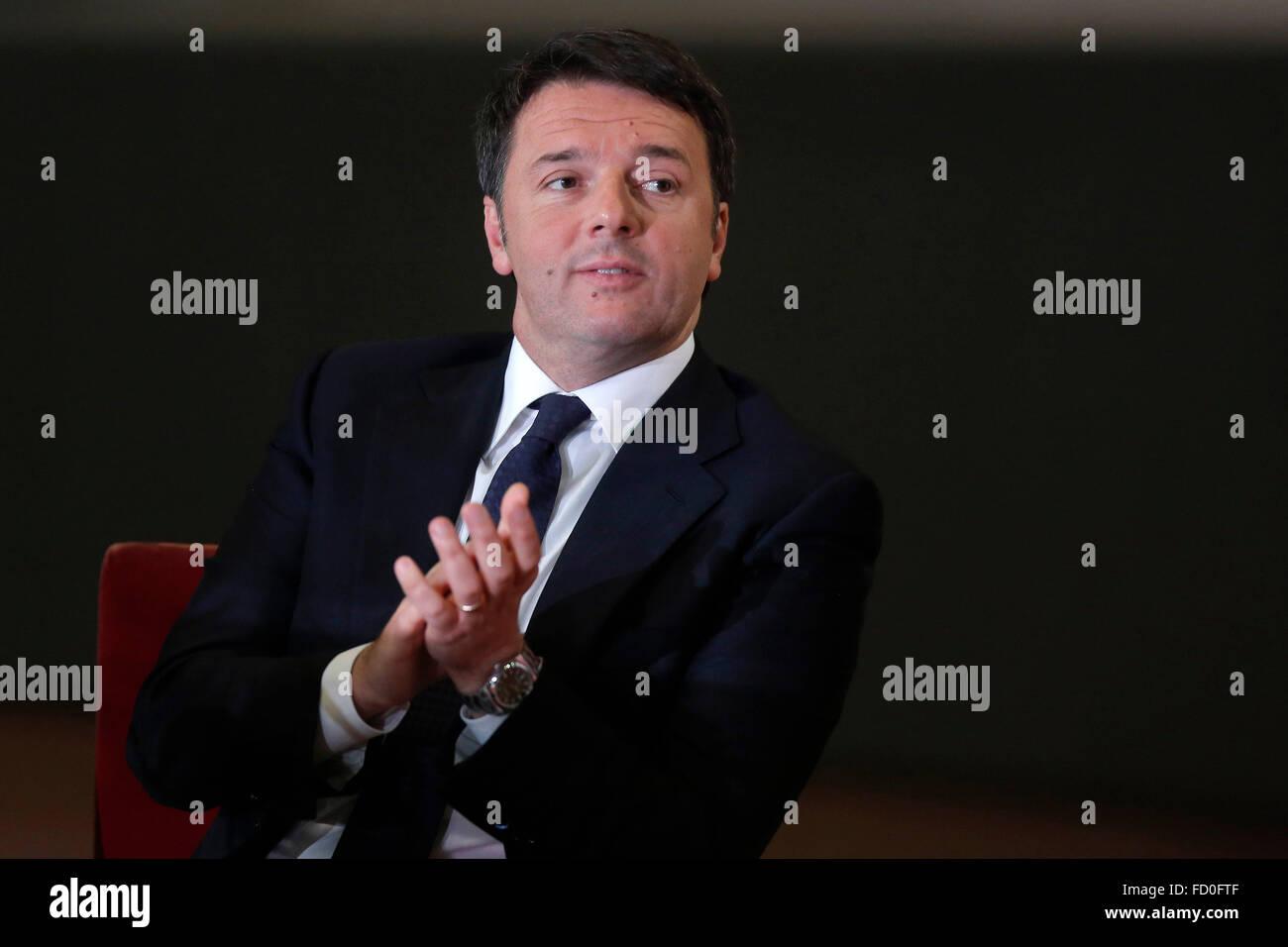 Rome, Italy. 25th January, 2016. Matteo Renzi. Italian Premier meets the President of Iran. Credit:  Insidefoto/Alamy - Stock Image