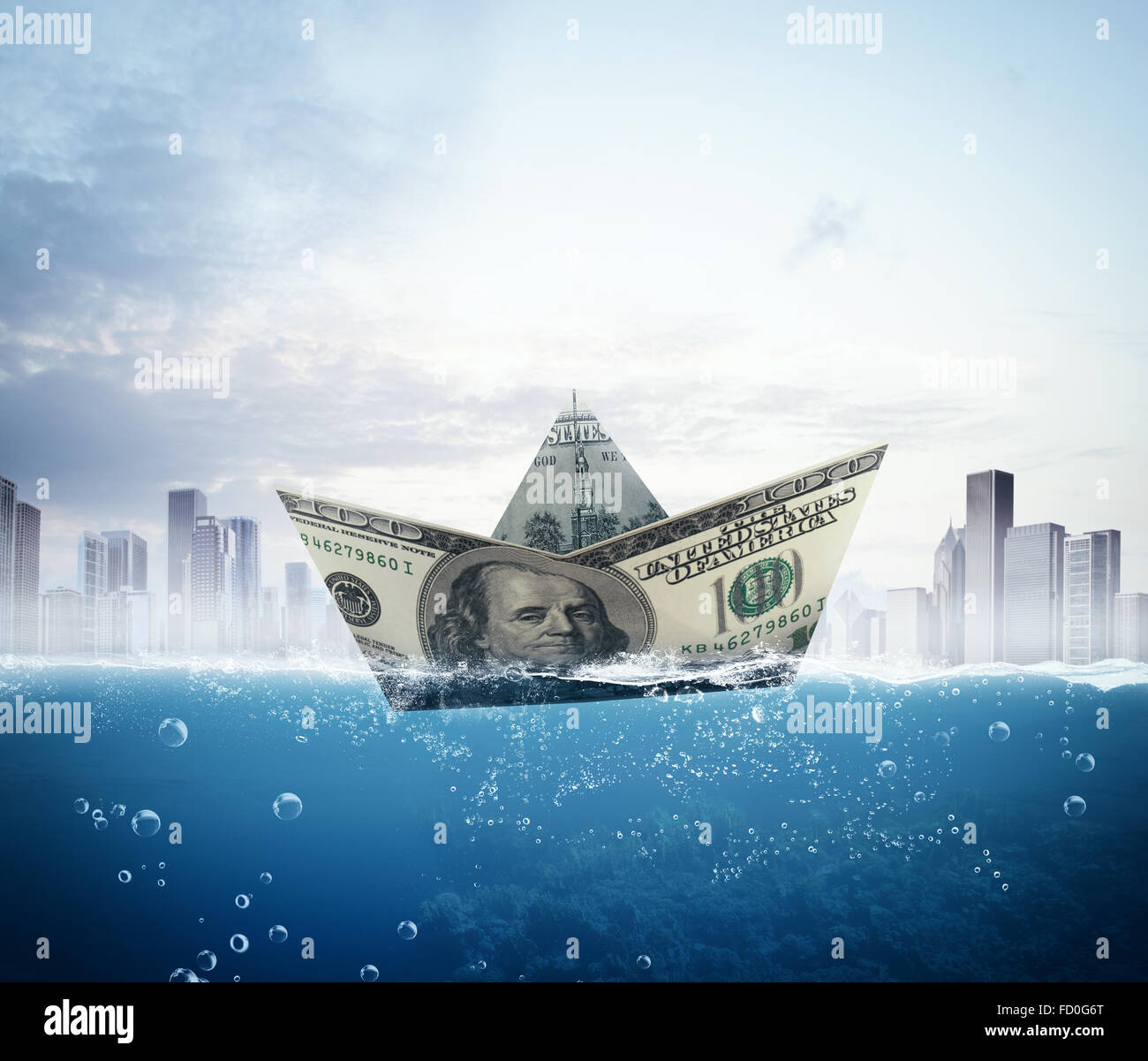 Banknote boat - Stock Image