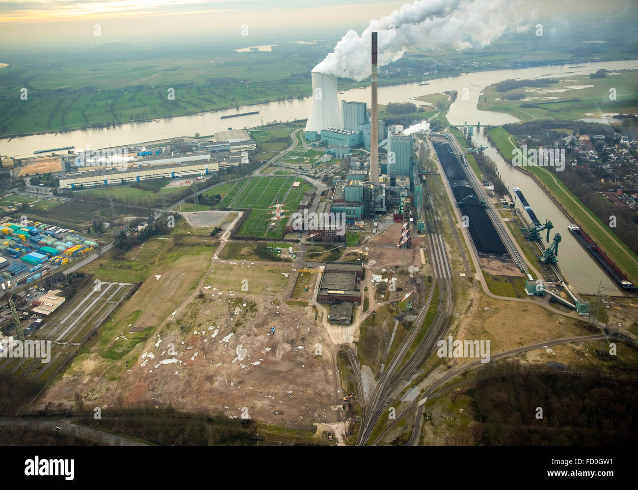 Aerial view, wasteland of the former mine Walsum, coal mine Walsum, STEAG power plant Walsum, coal power plant, - Stock Image