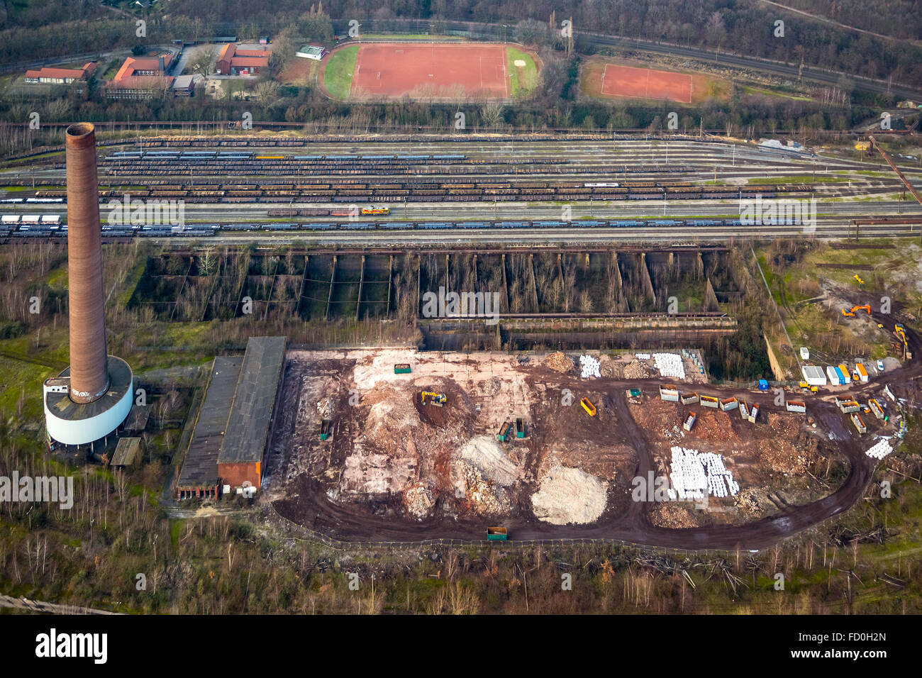 Aerial view, demolition of the sinter plant Duisburg-Beeck, brick chimney, structural change, industrial ruin, Duisburg, - Stock Image
