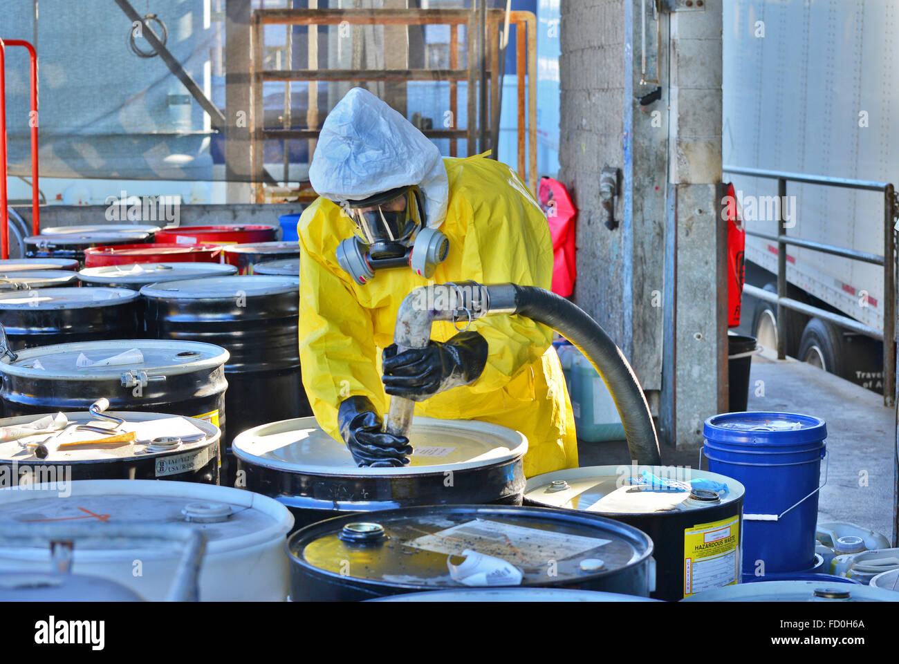 Environmental waste management, toxic material - Stock Image