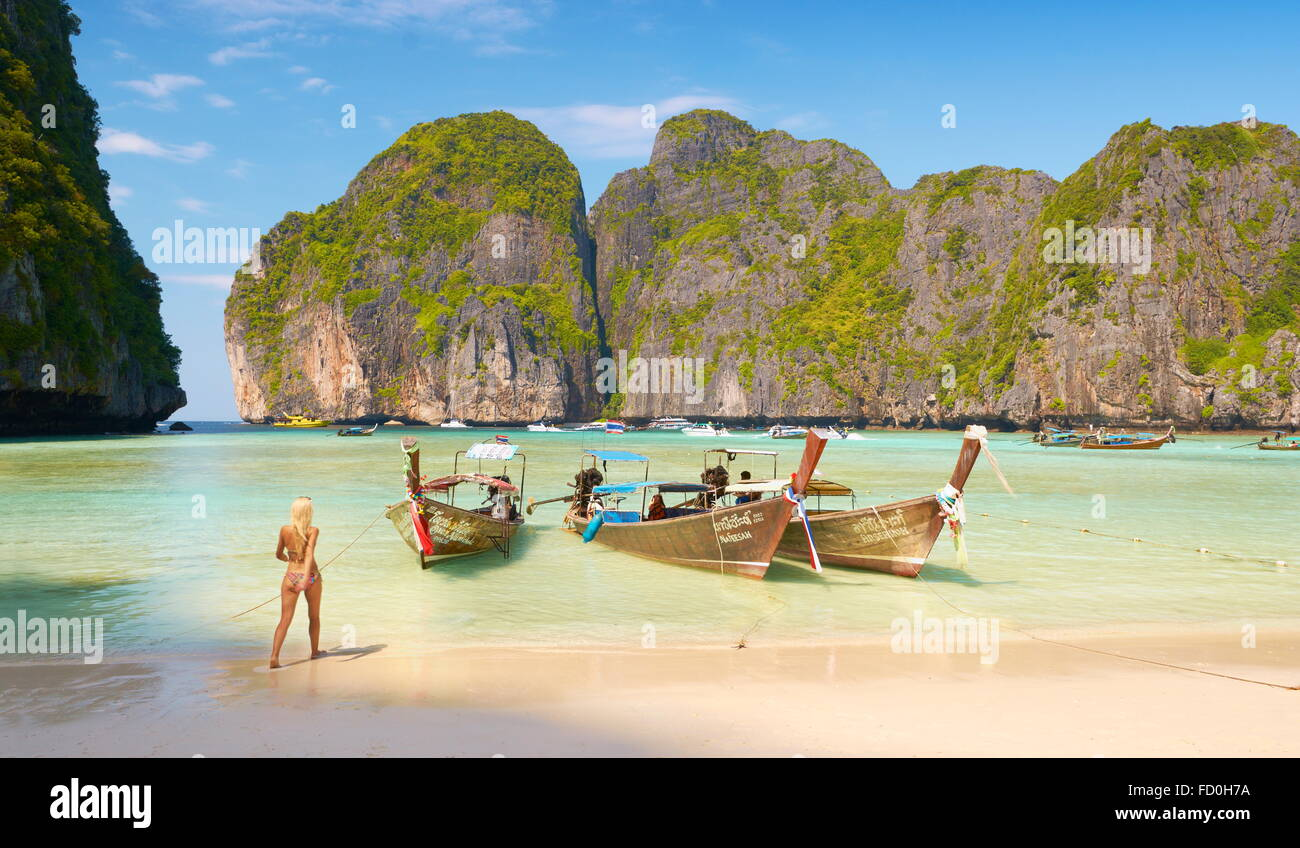 Thailand beach - tropical Maya Bay on Phi Phi Leh Island, Andaman Sea, Asia - Stock Image