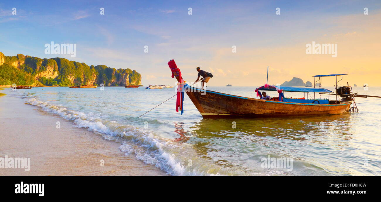 Thailand - Krabi province, Phang Nga Bay, sunset time on the beach - Stock Image